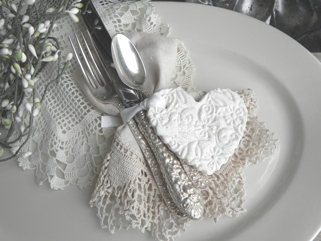 Large Imprinted Wedding / Baptism Favors Salt Dough Heart Ornaments Set of 10