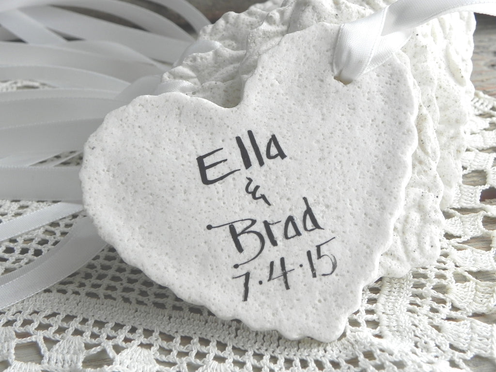 Large Personalized Imprinted Heart Wedding / Baptism Favors Set of ...