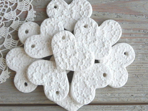 Mini DIY Imprinted Salt Dough Heart Ornaments Wholesale Set of 10