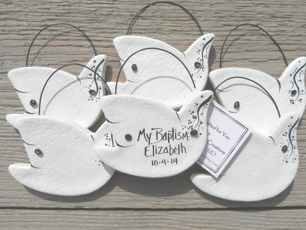 Primitive Dove Ornaments Set of 10 Personalized Baptism Favors