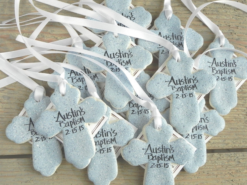 Personalized Cross Salt Dough Ornaments Set of 6