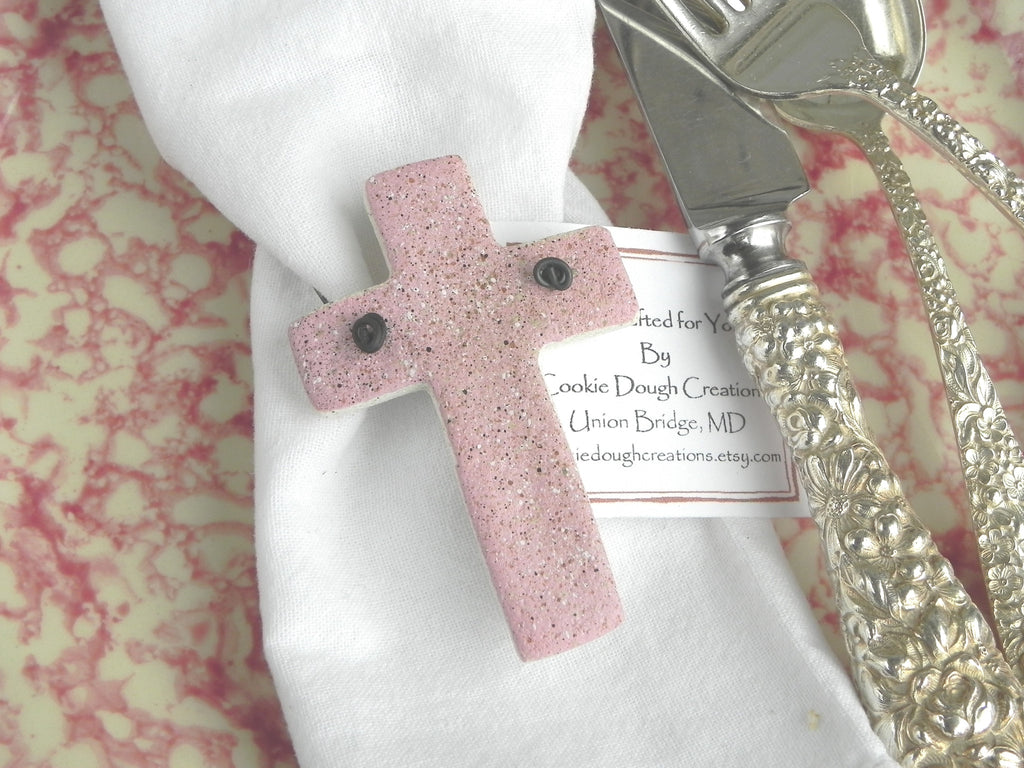 Small Cross Napkin Rings or Baptism / Easter Favors Set of 6 Salt Dough Ornaments