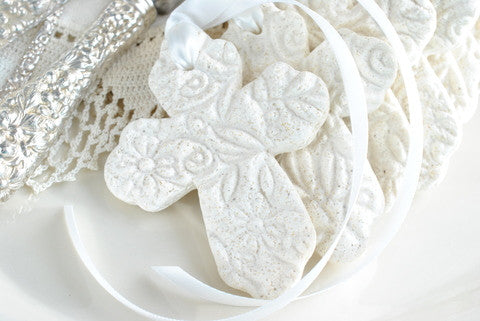 Imprinted Cross with Ribbon Set of 10 Baptism Favors Salt Dough Napkin tie/ring Ornaments