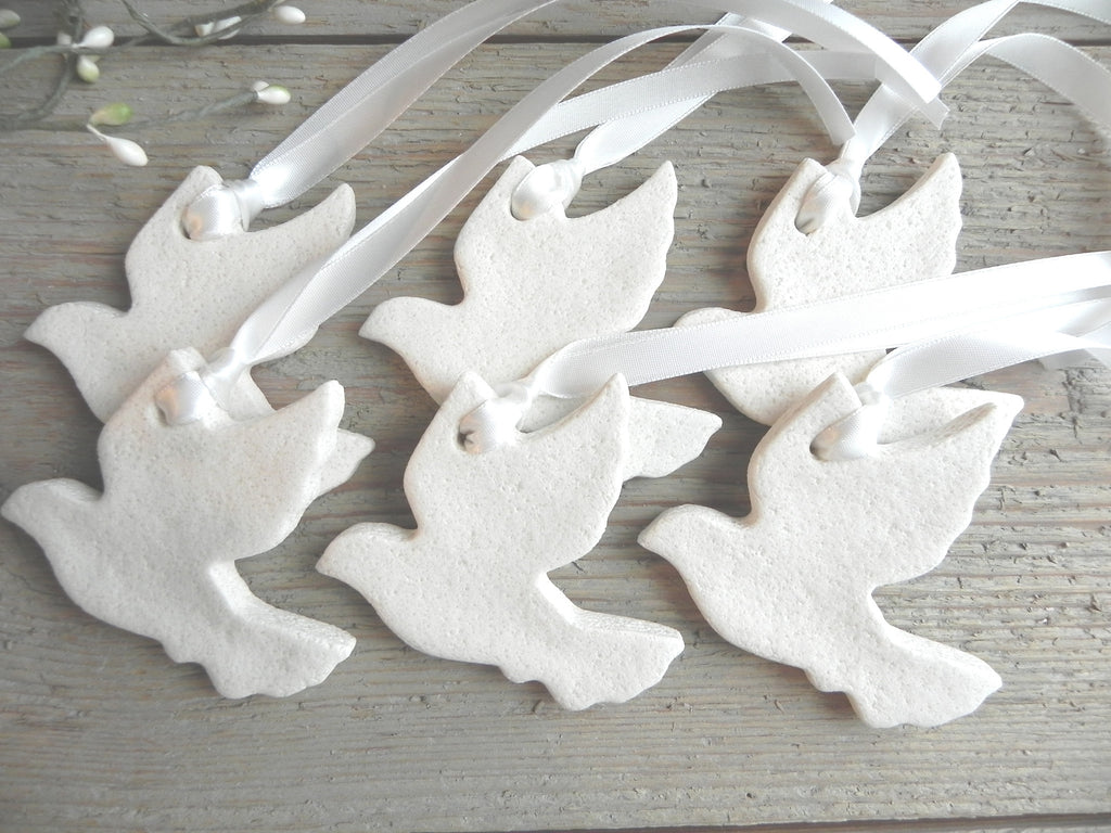 Simple elegant Dove Salt Dough Ornament Baptism Wedding Favors