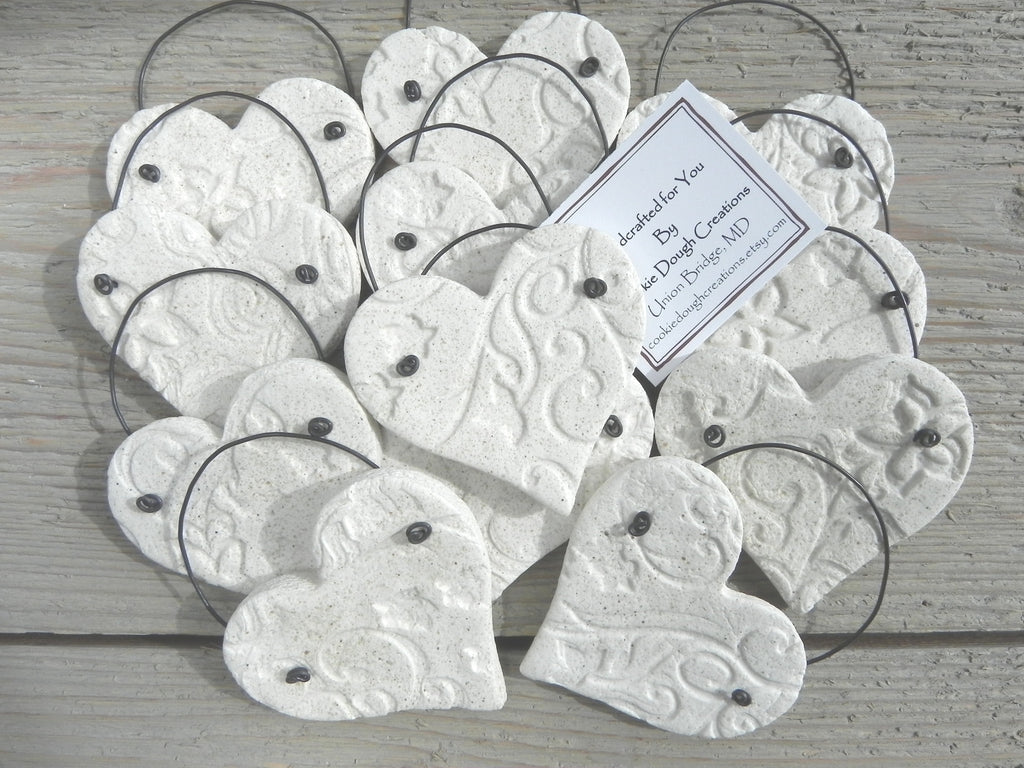 Wholesale Wedding Favors Imprinted Hearts with wire Set of 10 Salt ...