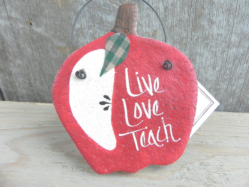Teacher Gift Salt Dough Apple Ornament