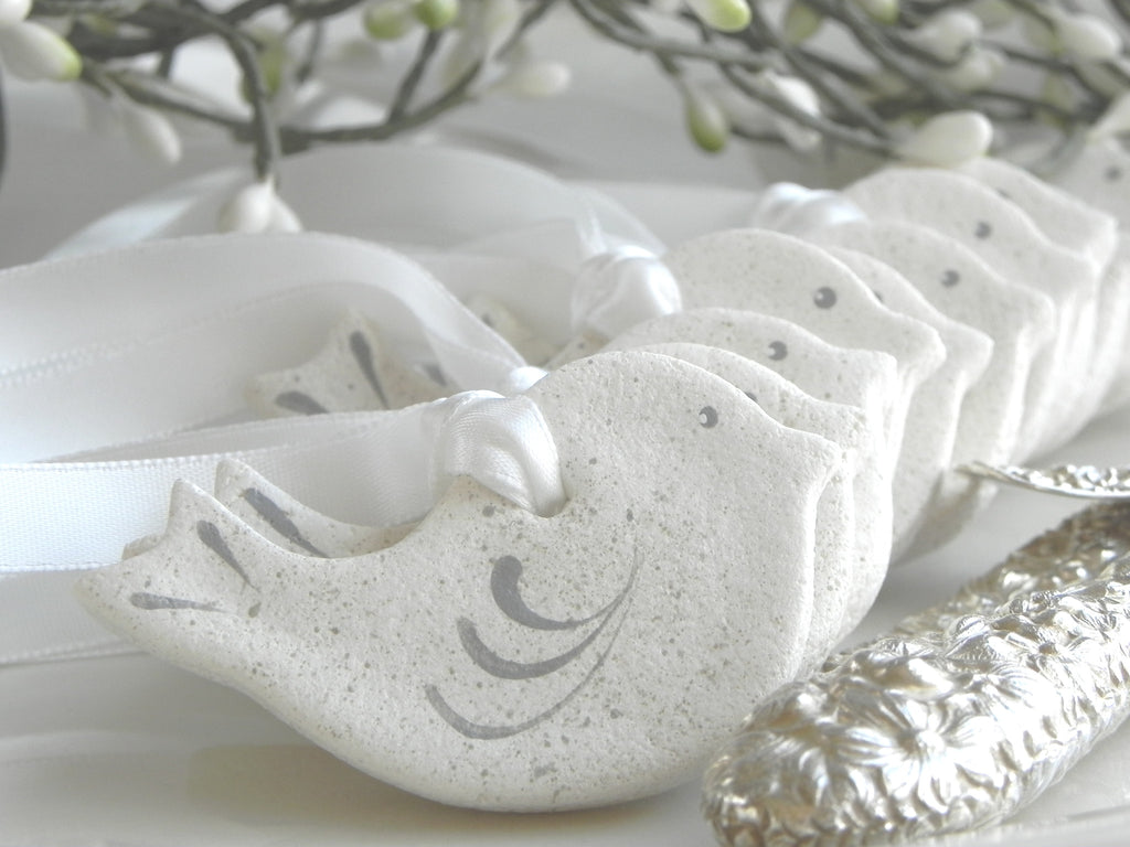 Mini Dove Salt Dough Ornaments 2 inch Set of 10 Wholesale Wedding Favors / Baptism