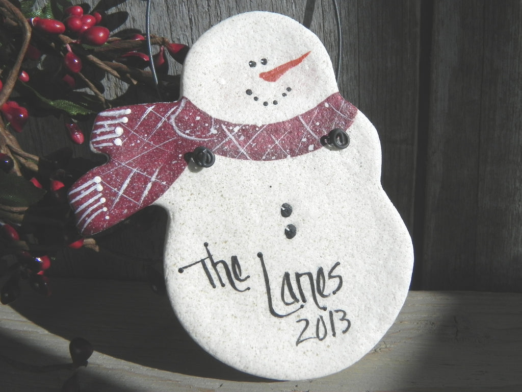 Personalized Snowman Gift Salt Dough Ornament