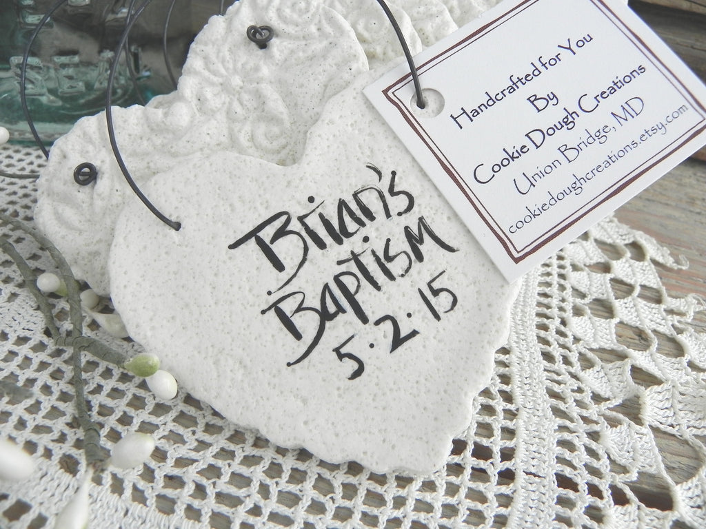 Personalized Baptism Napkin Rings / Wedding Favors Set of 10 Imprinted Heart Salt Dough Ornaments