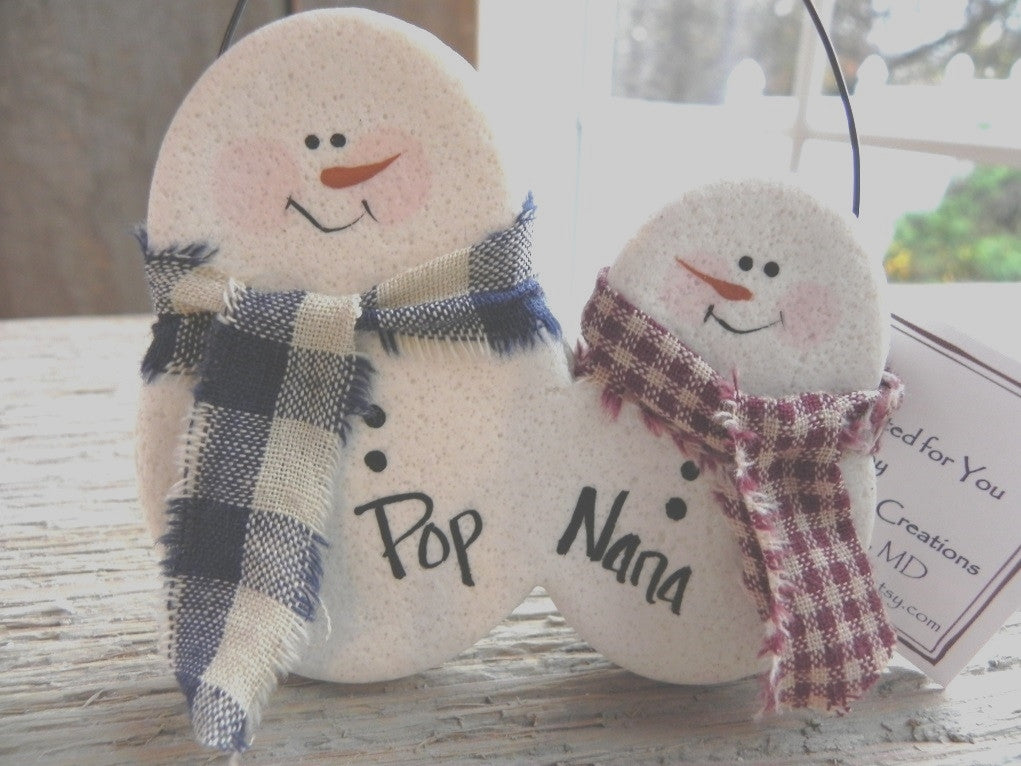 Personalized Snowman Couple Salt Dough Ornament