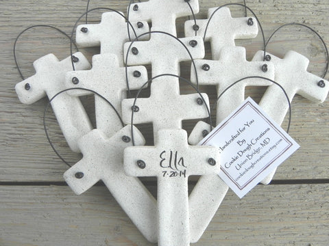 Baptism Favors Trendy Cross Set of 6 Personalized Cross Salt Dough Ornaments