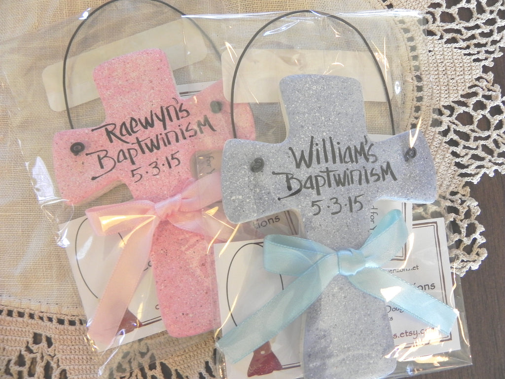 Baptism Gift for Twins Salt Dough Crosses Set of 2 Personalized ...