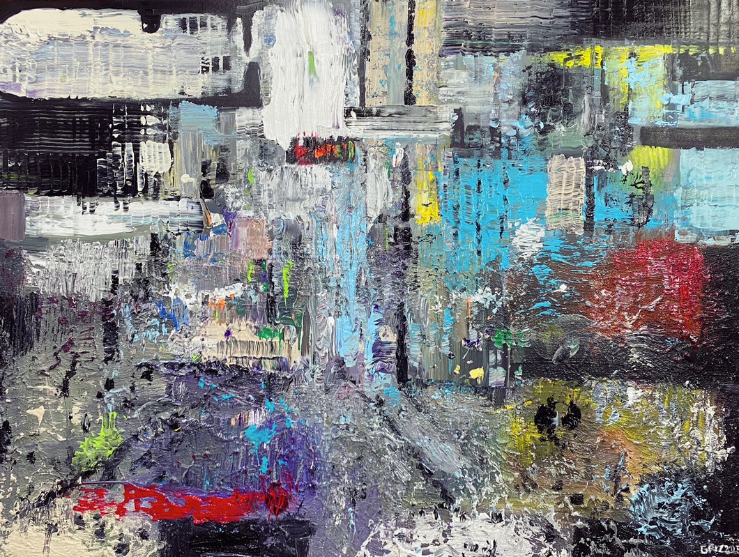 Downtown, 3' x 4' Original Painting