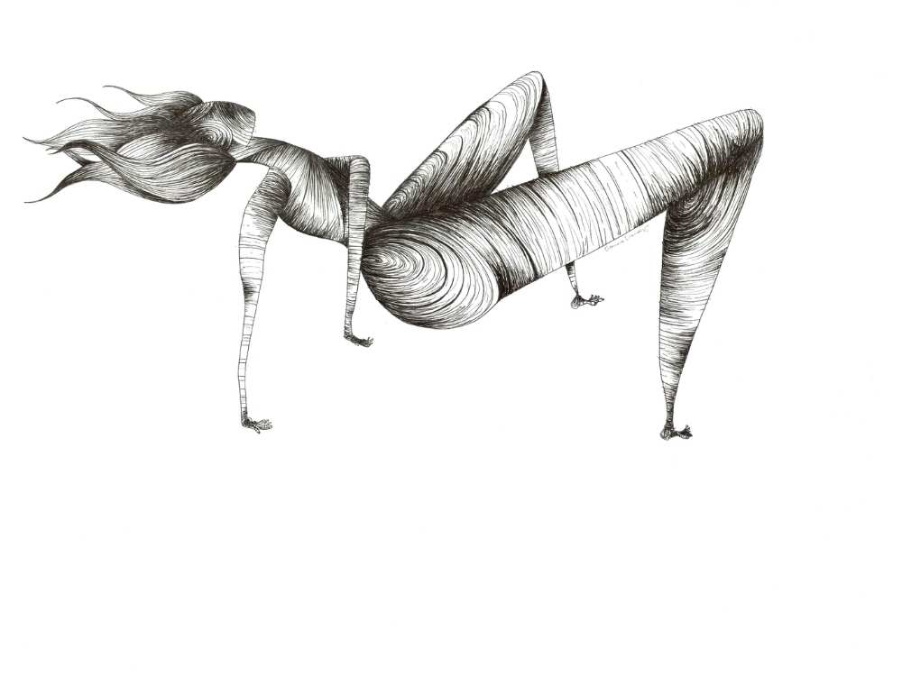 Abstract line drawing of a female figure doing a crab crawl with all four limbs on the ground. Hair levitates and waves behind her.