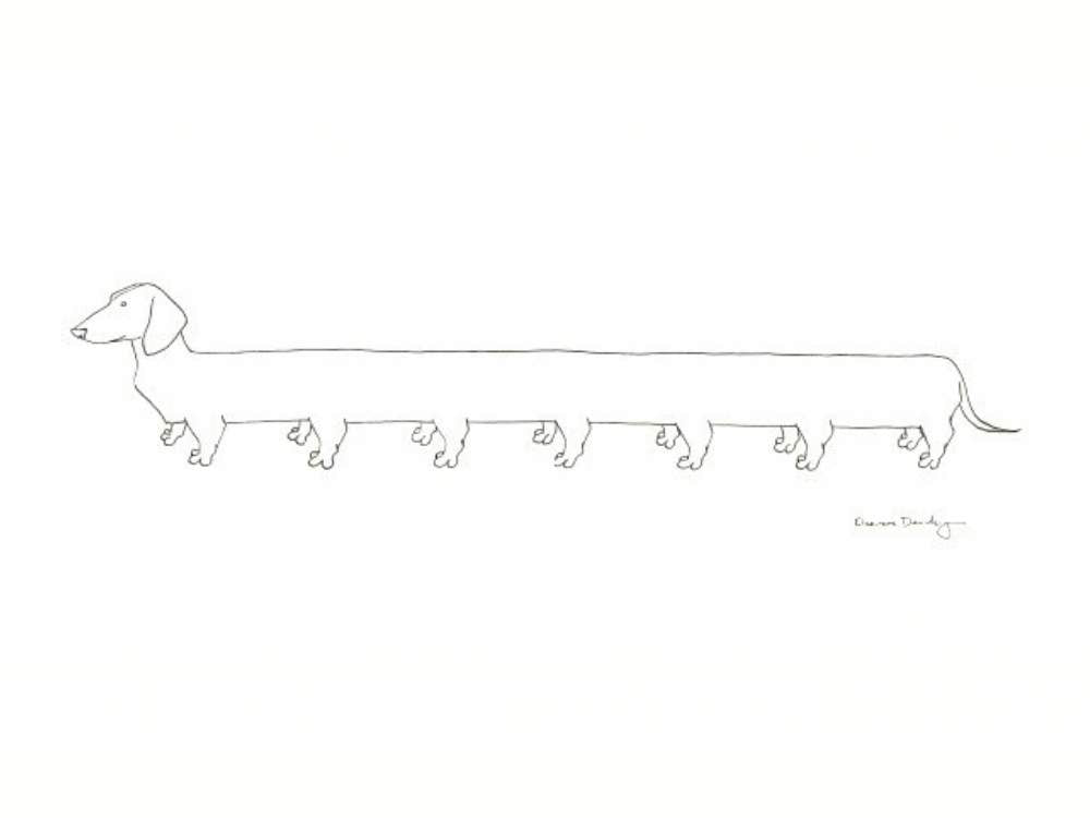 A line drawing of a Weiner dog with fourteen legs.