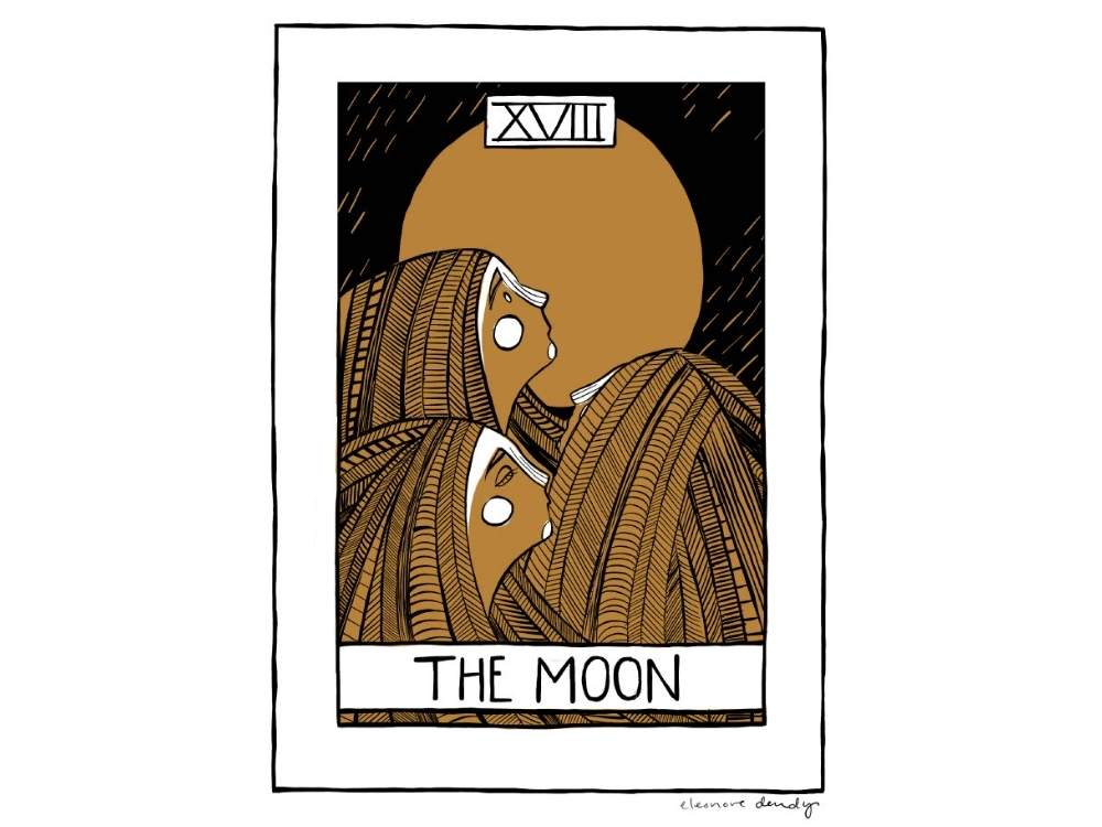 Fine art print of the Moon Tarot Card. Three Souls with long hair look up at a full moon.