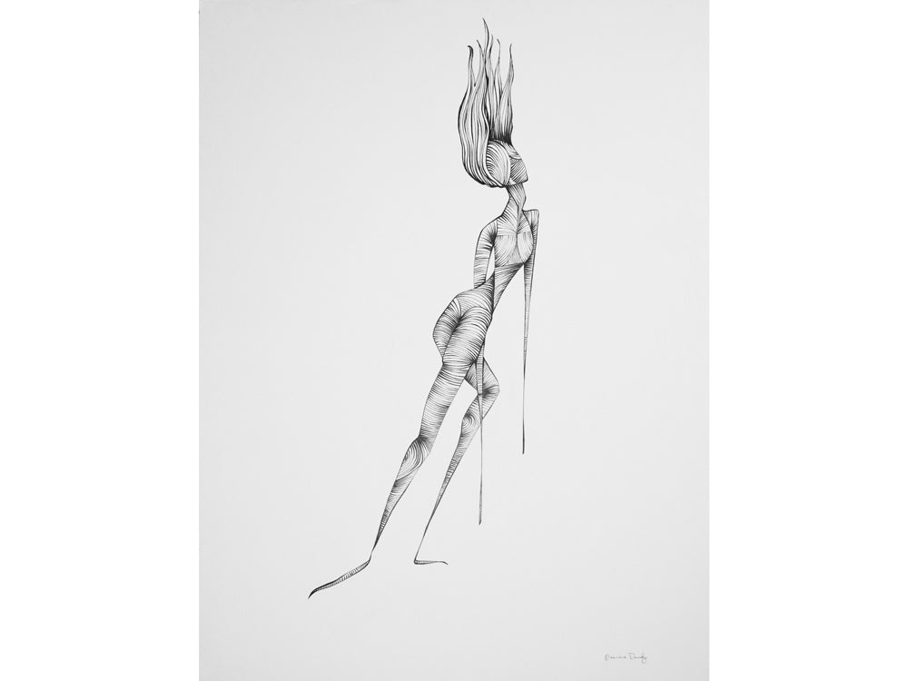Abstract line drawing of a female figure with hair levitating straight upwards in a gravitational pull.