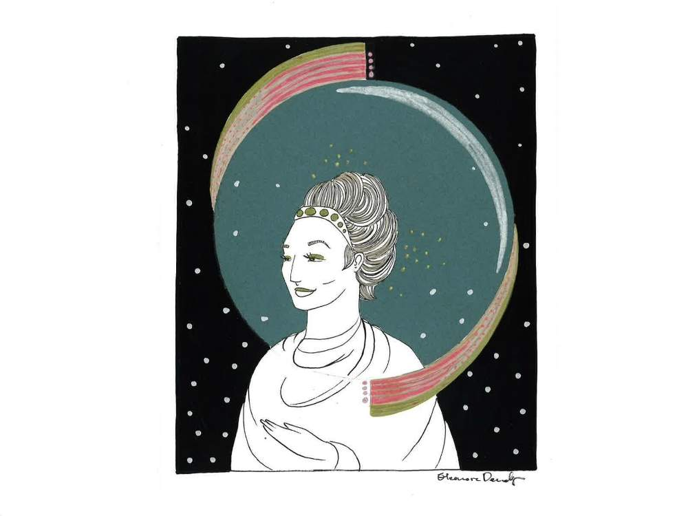 A goddess in space with beautiful hair done up on her head looks to the side in this fine artwork.