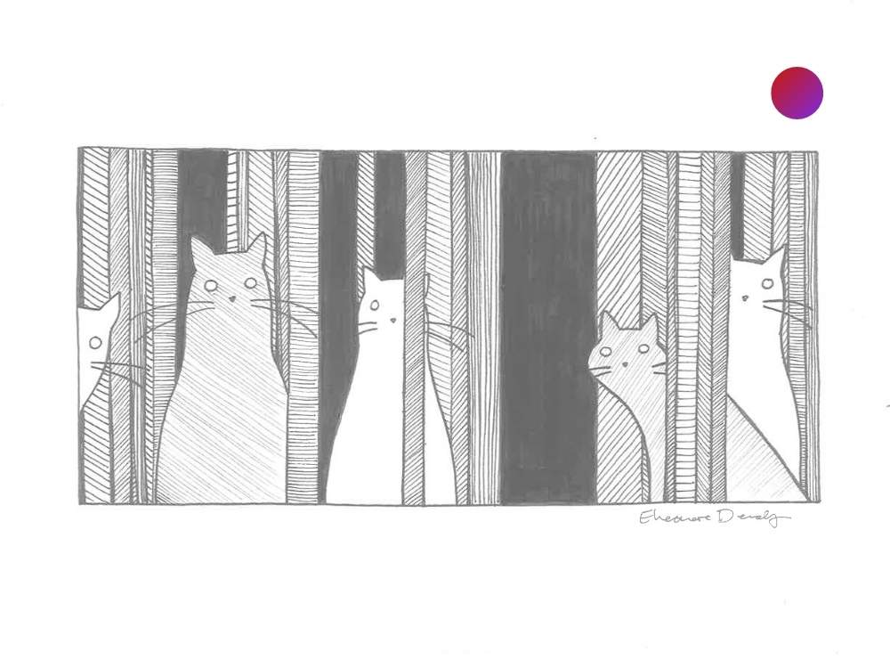 Fine art line drawing. Several kittens stare at the viewer through tree branches.