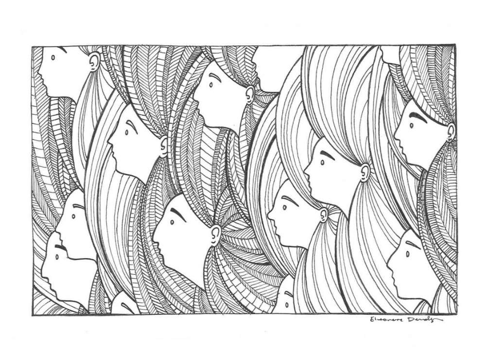 Fine line drawing of many faces all looking the same direction. Their faces pop out of the seemingly endless hair coming from all their heads.