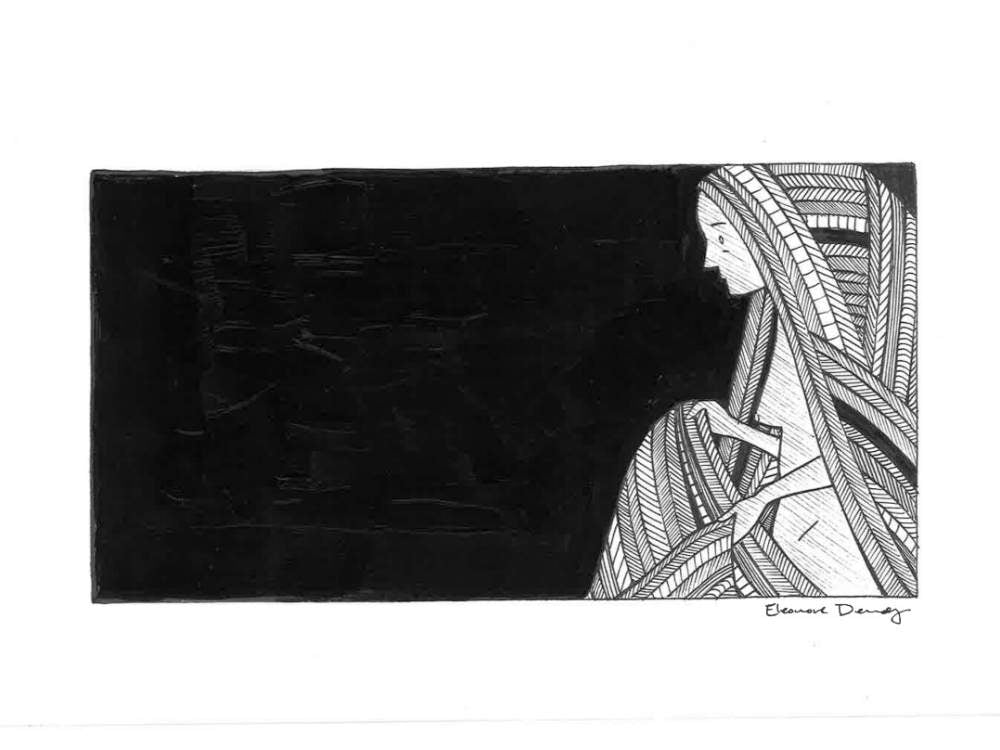 Fine art line drawing. A hooded woman holds her cloak in the dark.