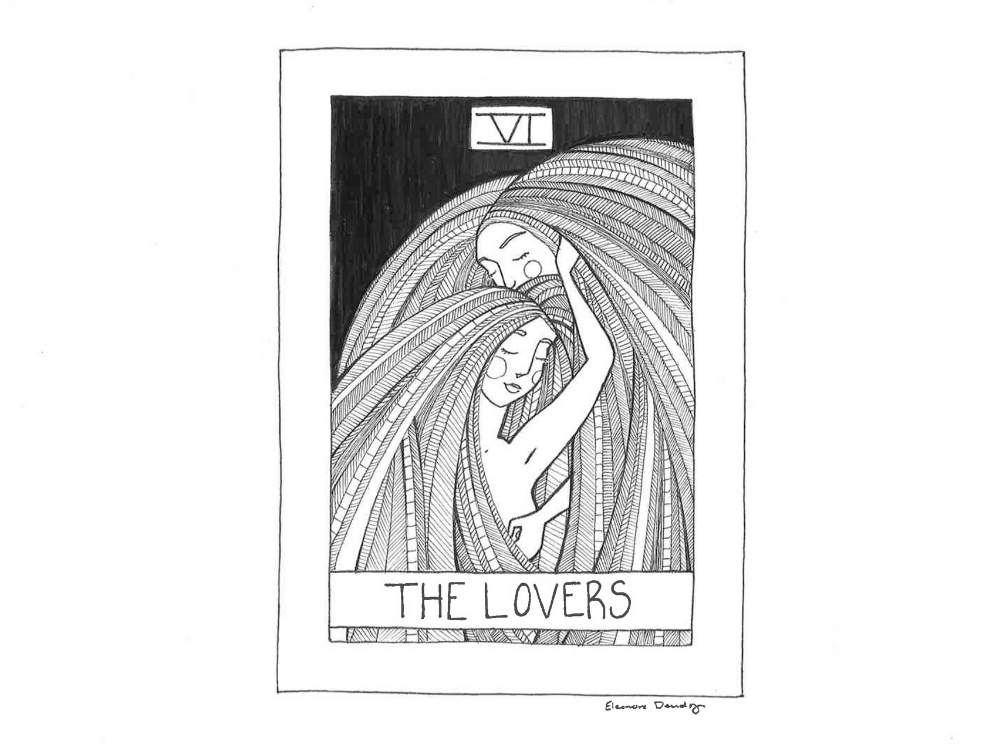 Fine art line drawing of a Lovers Tarot Card. Two women with long hair embrace each other.