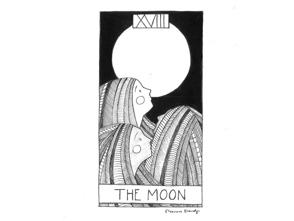Fine art line drawing of the Moon Tarot Card. Three Souls with long hair look up at a full moon.