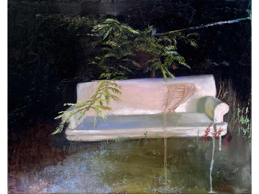 Painting of a couch in a dark forest with a tree branch hovering overhead.