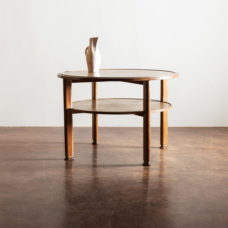 French Occasional Table in Cerused Oak in the Manner of Jacques Adnet, 1940s
