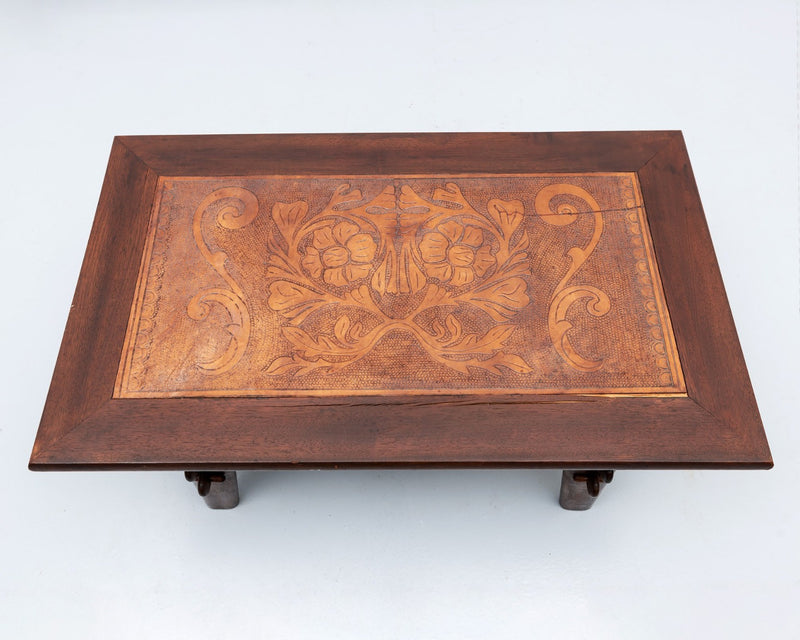Angel Pazmino Coffee Table in Rosewood and Leather, Ecuador, 1960s