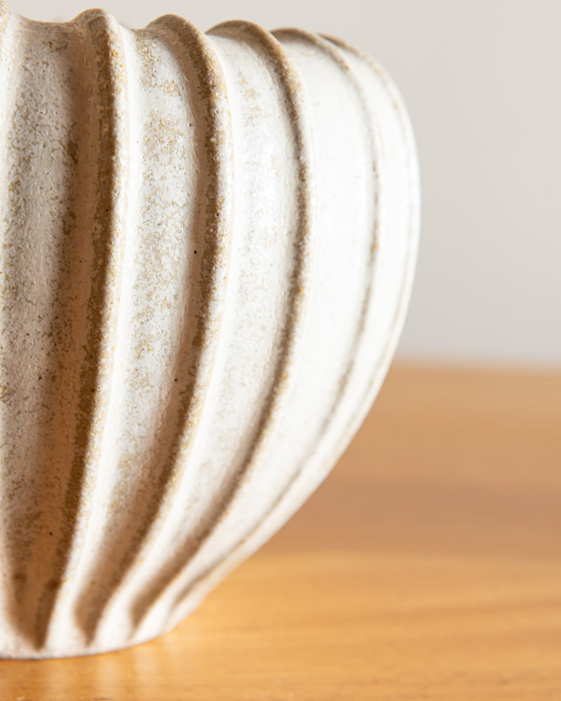 Arne Bang Fluted Round Vase in Bisque Glaze