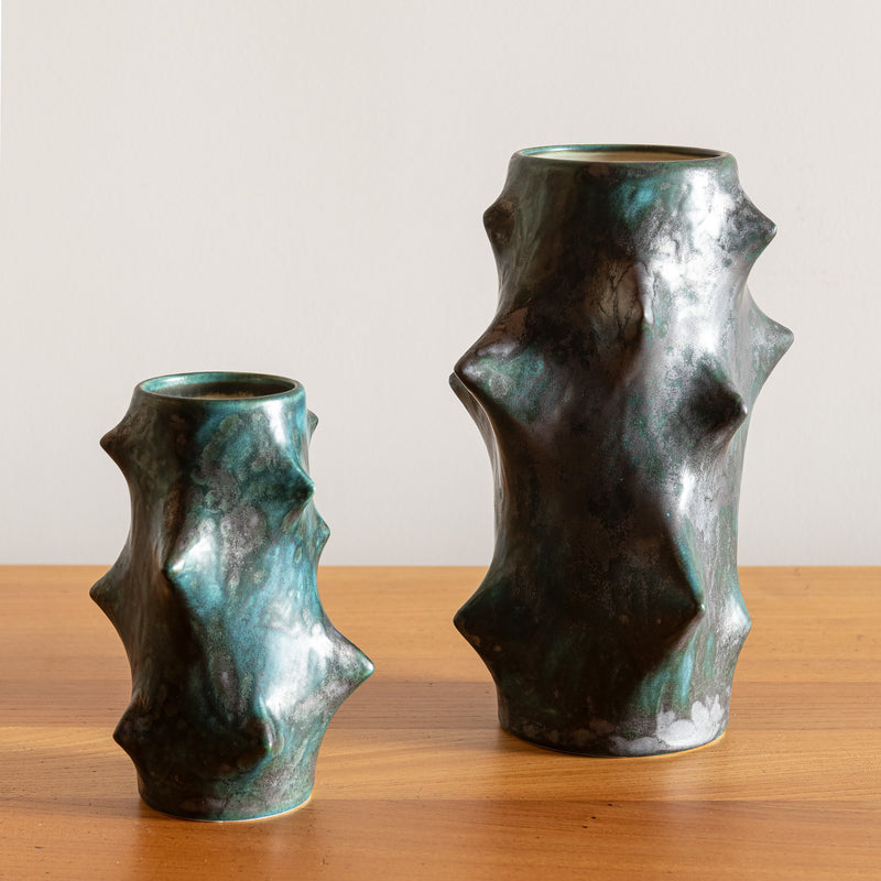 Pair of Rose Thorn Vases by Knud Basse for Michael Andersen & Son