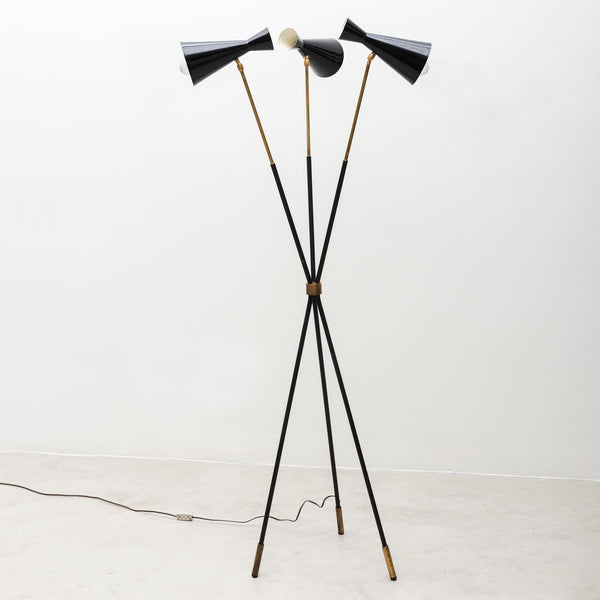Italian Tripod Floor Lamp in Brass and Black Enamel, 1950s