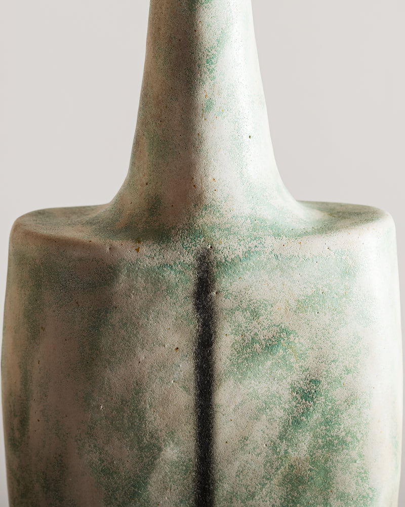 Bruno Gambone Green Bottle-Form Vase, Italy, 1970s