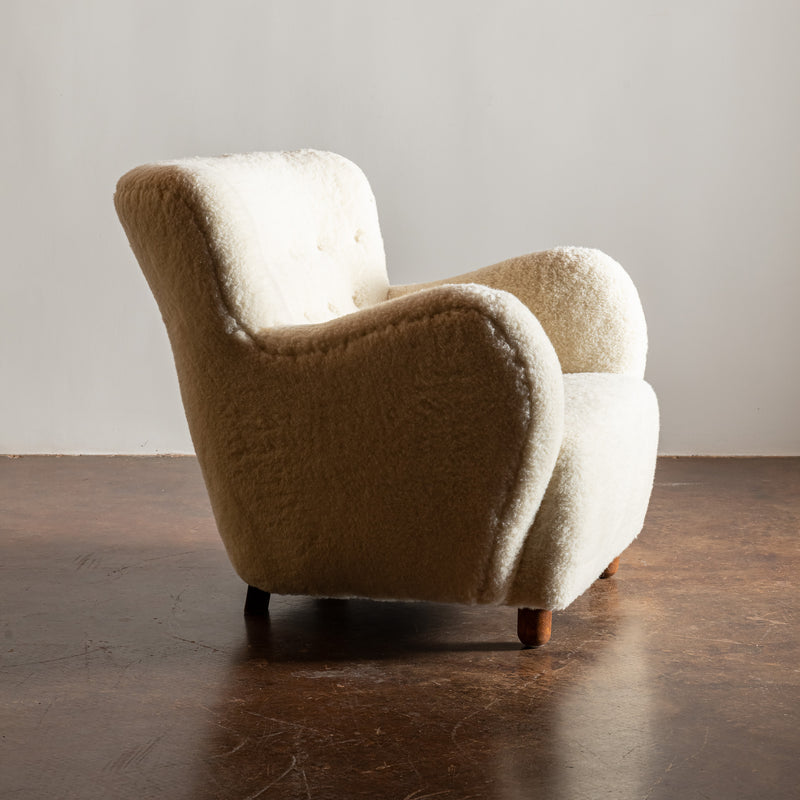 Danish Cabinetmaker's Easy Chair in Sheepskin, 1940s