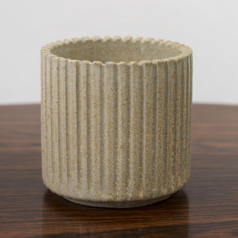 Arne Bang Small Ribbed Stoneware Vessel, Denmark 1950s