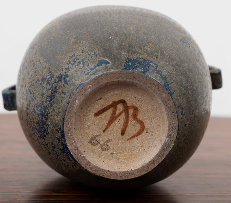 Arne Bang Small Stoneware Urn in Dark Glaze, Denmark, 1950s
