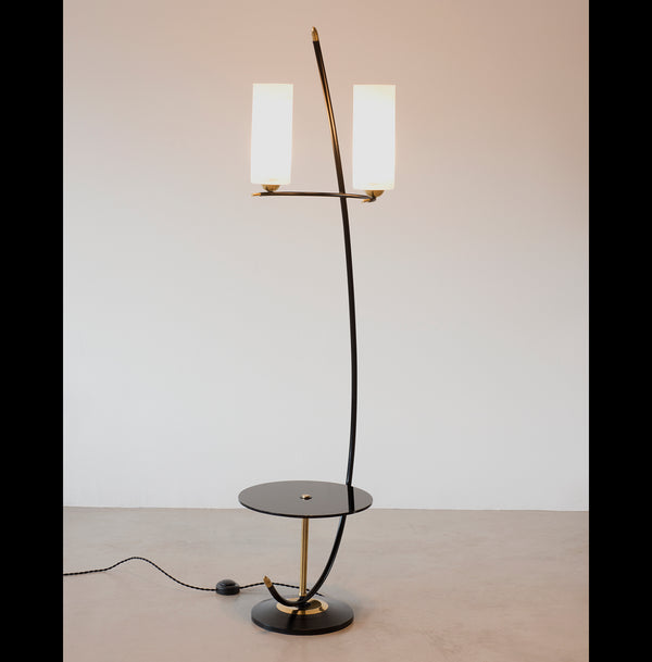 French Floor Lamp in Brass and Black Lacquer with Etched Glass Diffusers, 1950s