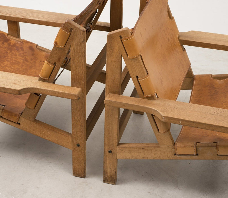 Pair of Kurt Ostervig Hunting Chairs in Oak and Leather, Denmark, 1960s