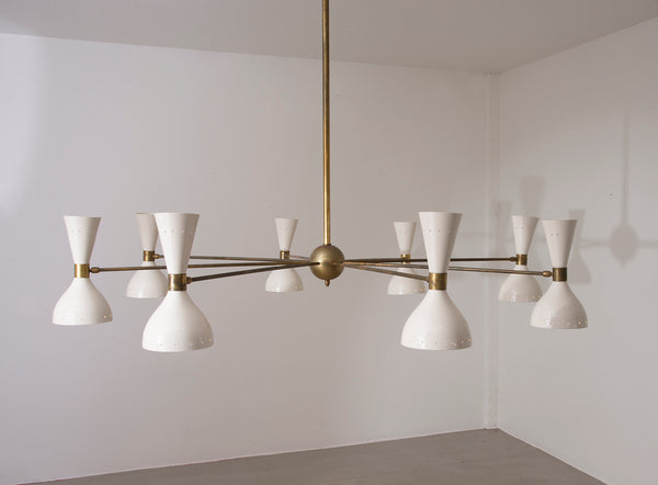 Italian Eight-Arm Diabolo Chandelier in the Manner of Stilnovo, 1950s
