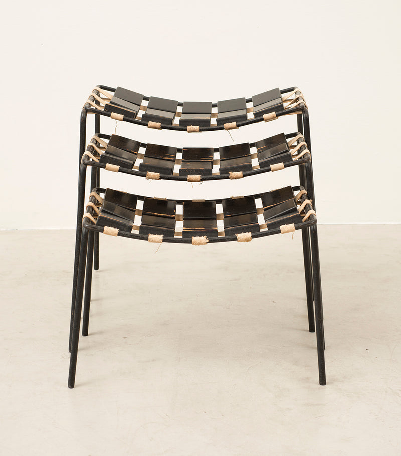 Extremely Rare Set of Three Stacking Stools Designed by Maxwell Yellen