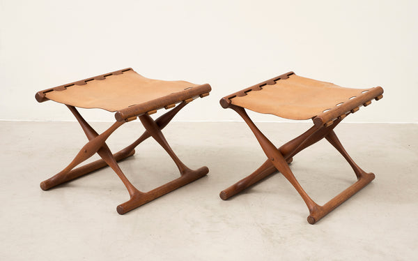 Pair of Teak 'Guldhoj' Folding Stools by Poul Hundevad, Denmark, 1950s