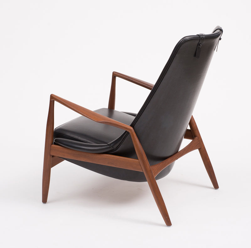 Ib Kofod-Larsen High Back Seal Chair in Teak and Black Leather for OPE, 1960s