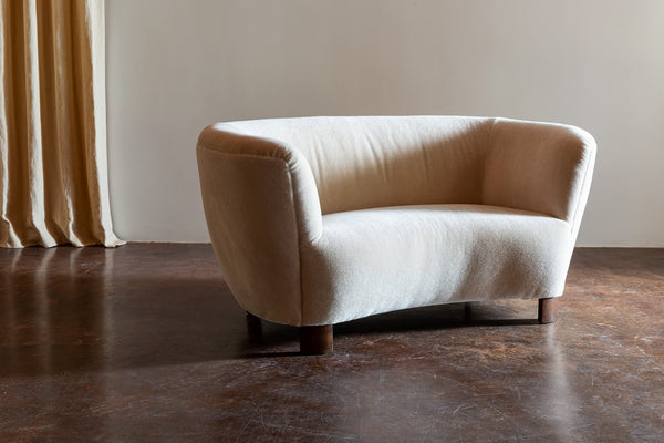 Two-Seat Curved Cabinetmaker Sofa, Denmark, 1940s