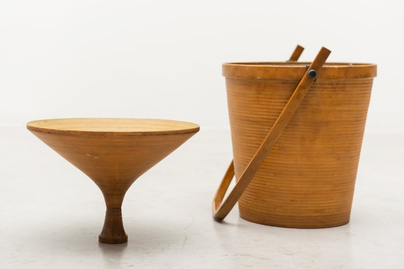 Danish Basket in Patinated Beech for Illums Bolighus, 1950s