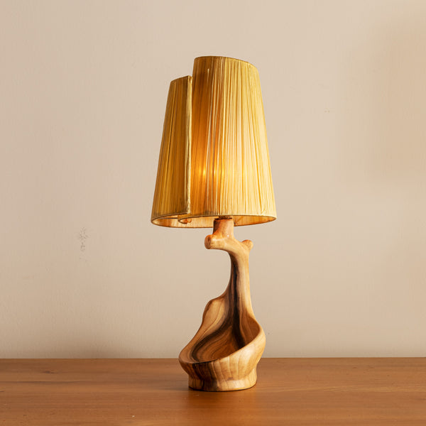 Vallauris Faux Bois Lamp with Spiral Shade, France, 1950s