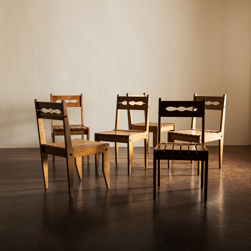 Set of 6 French Reconstructionist Oak Dining Chairs, France, 1960s