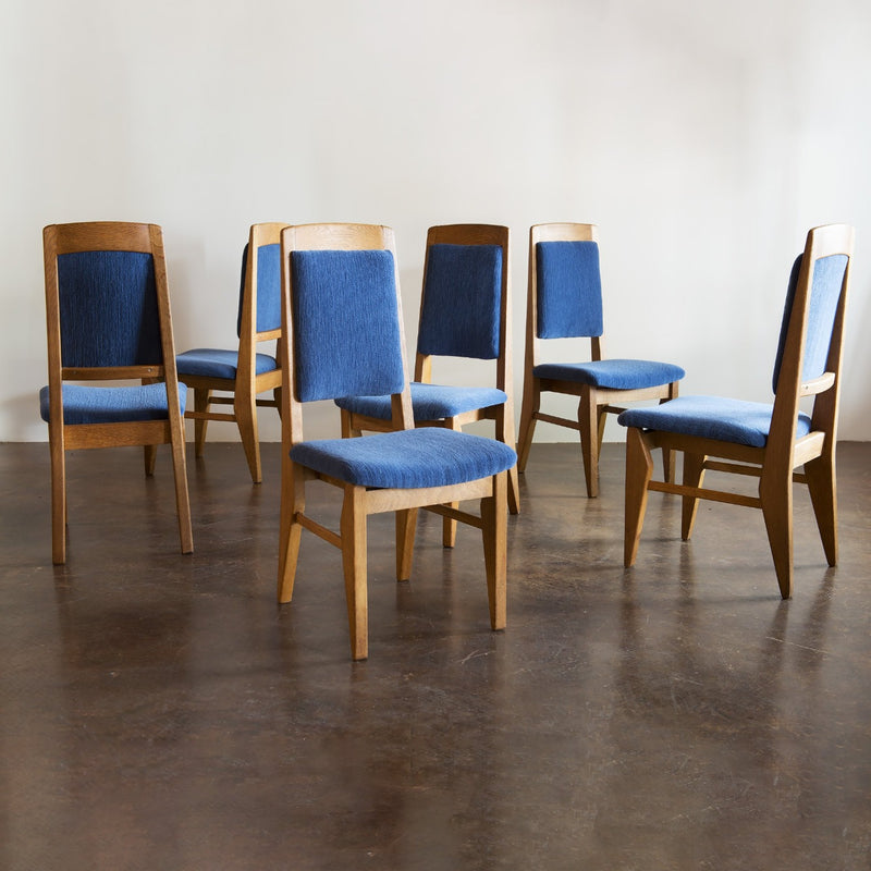 Set of Six Guillerme et Chambron Dining Chairs in Oak, France, 1960