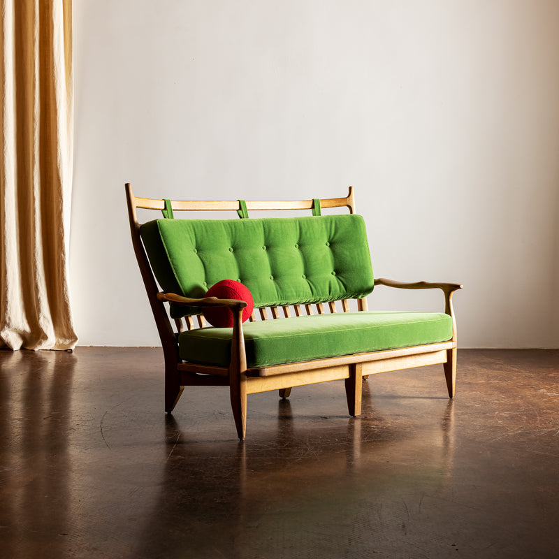 Guillerme et Chambron Settee in Oak with Mohair Velvet Cushions, France, 1960s