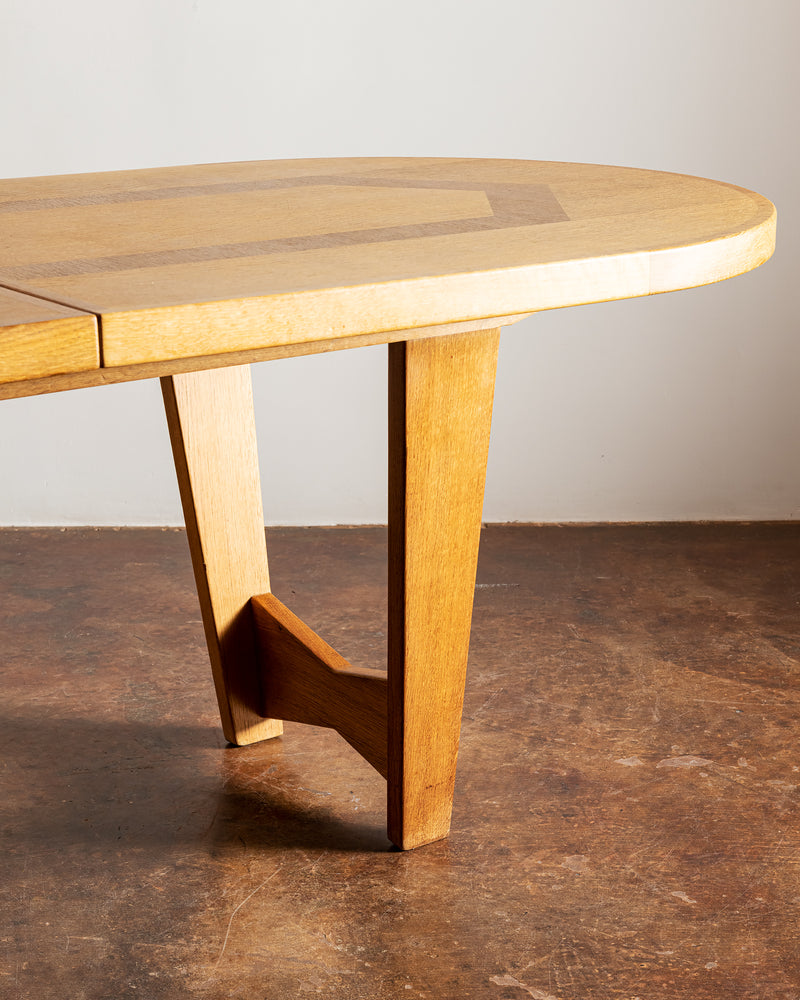 "Gorgeous Guillerme et Chambron ""Ardennes"" Dining Table in Oak. France, 1960"
